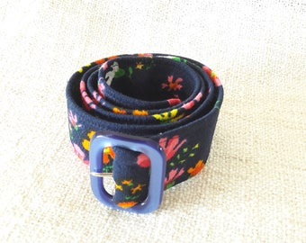 70s Handcrafted Women Belt - Navy Blue - Floral Pattern - XS - 38 inches
