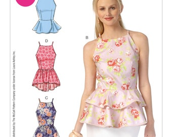 Sewing Pattern for Misses' Peplum Tops, McCall's Pattern 7162, NEW PATTERN, Laura Ashley, Great Summer Top