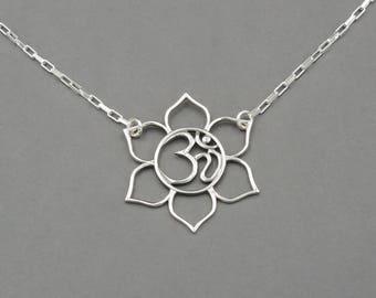 Om Necklace - Yoga Necklace, silver om jewelry, ohm, lotus flower, boho necklace, hippie, handmade