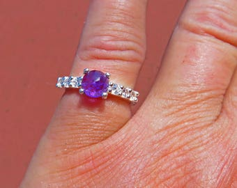 Amethyst Ring - Rose Cut 6mm Amethyst Sterling Silver Ring - Woman's Ring Size 6 - Beautiful Amethyst with CZ Accents Ring