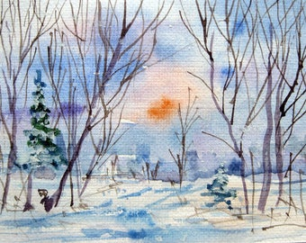 Original ACEO watercolor painting - Winter day - Miniature Painting, Small Painting, Art and Collectables - ACEO Watercolor 2.5 x 3.5 inches