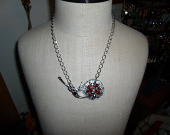 Vintage 1950s Ooak Silver Tone Necklace Upcycled Red Iridescent Rhinestone Flower Sideways Handmade Upcycled Adjustable Recycled