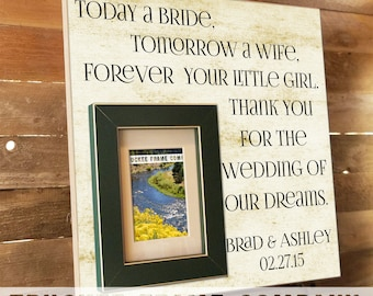 Parents of the Bride Gift, Parents of the Groom Gift, Parent Thank You Gift, Mother of the Bride, Father of the Bride 16x16- TODAY A BRIDE