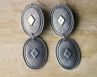 Vegas Western Concho Earrings, Statement Earrings, Southwest