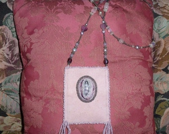 Mauve Ultrasuede Beaded Mini Bag Use as ID Holder or Hands Free Shopping Wearable Necklace Purse or Treasure Holder