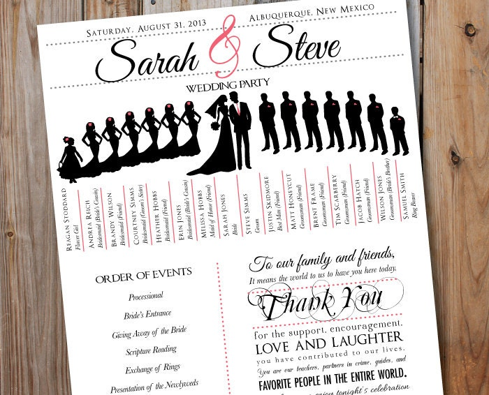 Wedding Program With Party Silhouettes Digital