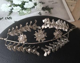 Vintage silver wedding crown, 1930s, vintage bridal crown, German Myrtle, Boho headpiece, hair accessories, hair wreath, bridal tiara,
