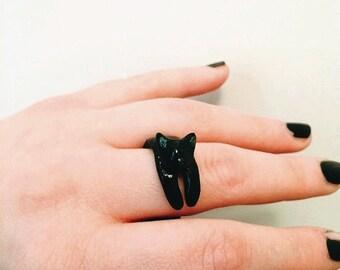 Anello gatto nero sveglio, dichiarazione anello, gatto gioielli, anello animale, gioielli di gatto, gatti regalo, regali di Pasqua, anello personalizzato, ooak gioielli