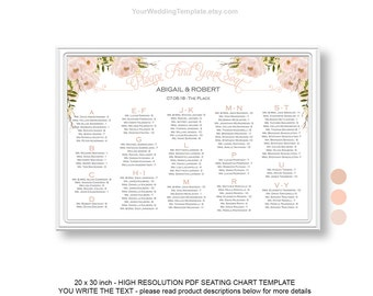 alphabetical seating chart wedding template seating ideas seating