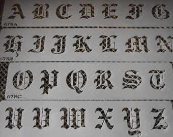 Large Old English Stencil Letters set 112!