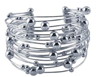Sterling Silver 21-Wire Beaded Cuff Bracelet