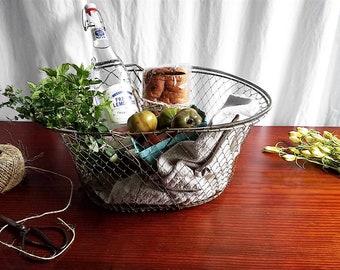 Vintage Collapsible Wire Egg Basket, Pawley's Market Basket; Vintage French Country Farmhouse Decor, Rustic Kitchen, Metal Basket