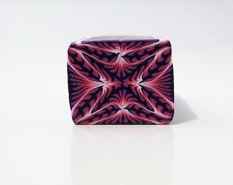 Polymer Clay Kaleidoscope Cane, Raw, Unbaked, Pink, Purple and White, Square Cane