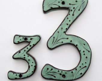 Large Outdoor Ceramic House Numbers or Letters - 7 inch or 8 inch Size - Aqua Mist Color - MADE TO ORDER