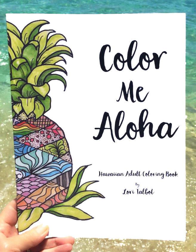 Adult Coloring Book Color Me Aloha Hawaiian