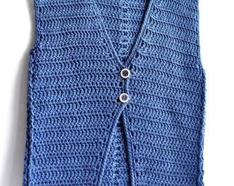 Crochet Buttoned Simple Vest  PATTERN (pdf file) Instant download