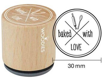 """Woodies """"baked with LOVE"""" Rubber Stamp 1.35"""""""