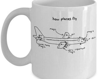 Aerospace Engineer, Gift For Pilot, Pilot Gifts, Pilot Mug, Mug For Pilots, Engineer Mug. How Planes Fly, Funny Pilot Mug