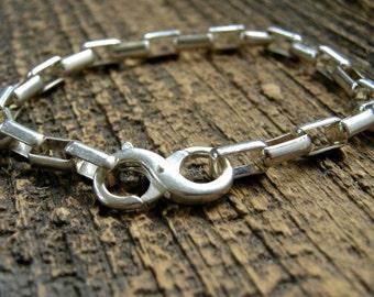 unisex sterling silver bracelet, large box chain bracelet, mens sterling silver bracelet, womens sterling silver braclelet