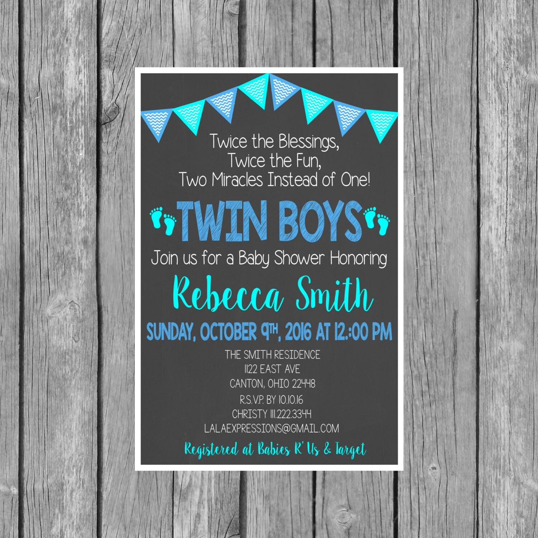 Twin Boys Baby Shower Invitation Twin Boys Shower Invite