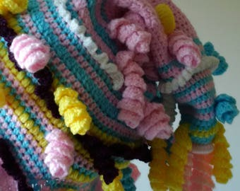 "Freeform Crocheted Hood/Hat with Scarf ""Curly Candy"""