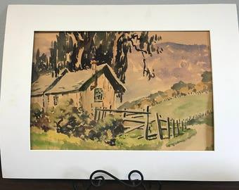 San Gregorio Canyon #1, Original Watercolor by Galen Russel Wolf (Unframed)