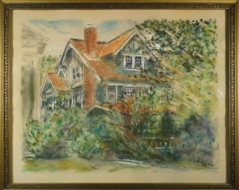 Antique House Painting Landscape Pastel American Impressionist Art BROOKLYN House Portrait 1940s New York City Architectural Original NYC