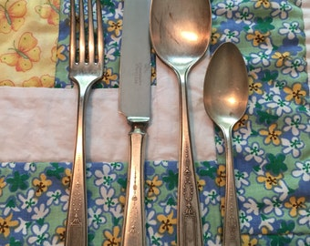 Vintage 4 Piece Set Art Deco Silverware Place Setting Silver Plated Silverware Community Plate