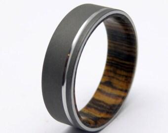 Wood ring with blasted Titanium , Bocote wood wedding ring with Polished groove titanium