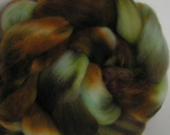 Roving Fiber COLUMBIA Top BLUE MOUNTAIN Brown Turquoise Aqua Green Moss Fine Hand Painted Spin Felt Craft 4 ounces