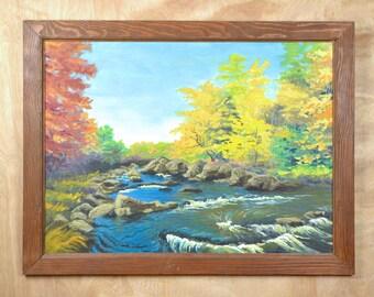 Vintage Painting Landscape Autumn Brook Rapids Nature Framed