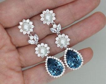 Sapphire Chandelier Earrings, Navy Blue Earrings, Bridal Earrings,  Bridesmaid Jewellery, Swarovski Denim Blue Crystal, Something Blue