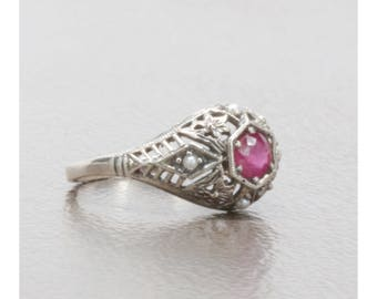 Natural Ruby Antique Art Deco Style Filigree Ring in Sterling Silver