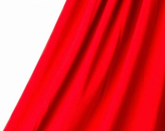 Organic JERSEY Fabric - Solid Red - UK Seller