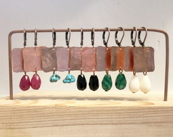 Small squares-Copper earrings hand-wrought with stone