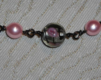 Pink Pearl and Lampwork Beads Necklace