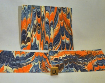 Hand Made Marbled Paper with Blue and Orange for scrapbooking, embellishments, journalling -MM-D2