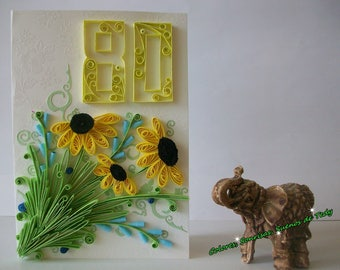 80th Birthday Quilling card, Personalised Age 80 Quilled card, Daisies 80th Mum, Grandma, Sister, Aunt, Мother in law, Friend, Cousin card