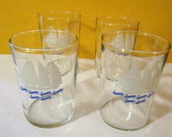 Set of 5 marine theme glasses from Soviet era