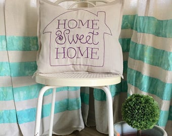 Home Sweet Home embroidered 18x18 cushion cover, enteyway, livingroom, bedroom, embroidered cushion cover