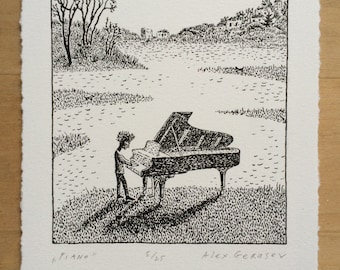 Piano - Original Lithograph - by Alex Gerasev - Free Shipping