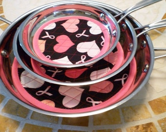 Fry Pan Cozy Pan Protectors - Pink Hearts & Ribbons Breast Cancer Awareness - No More Scratches Pan Storage - Set of 3 sizes Machine Wash