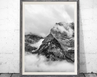 Mountain print, Black and White Mountain, Mountain Art, Landscape Print, Mountain Wall Art Print, Mountain Printable, Wall Decor