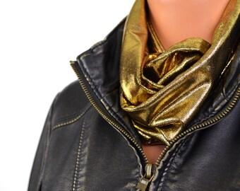 Metallic Gold Scarf Infinity Scarf Black Gold Lightweight Scarf Christmas Womens Ascot Holiday Scarf Unisex Cravat Clubwear Scarf hisOpal