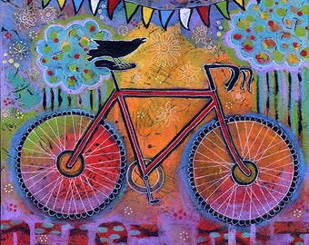Raven Riding Bike Wall Art Print. Colorful Whimsical Decor Bicycle Gift for Cyclist Bike Rider. Peace Out Bicyclist Print. Lindy Gaskill