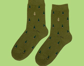 FREE SHIPPING Forest and trees women's socks in green and brown, Tree socks one size lady socks