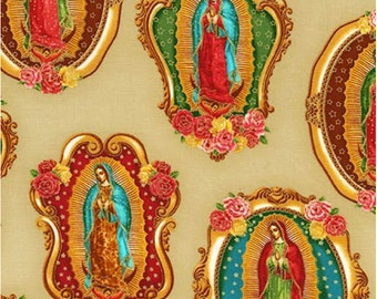 Virgin of Guadalupe fabric by Robert Kaufman from Inner Faith, tan natural background