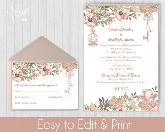 blush rose gold alice in wonderland invitation template free