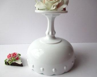 Large Vintage Milk Glass Compote Indiana Glass Teardrop