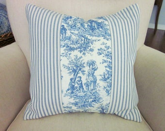 Navy Toile Ticking Pillow Cover, Decorative Pillow, Color Blocked Pillow, Various Sizes, Navy Blue and Off-White